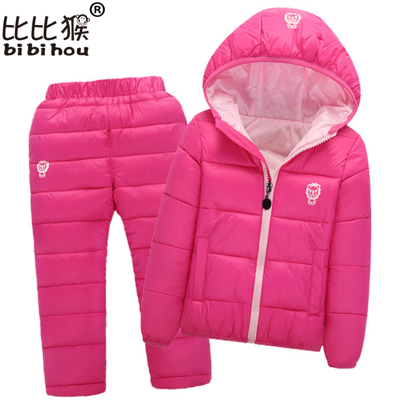 Bibihou Children Set Boys Girls Clothing Sets Winter Hooded Down Jackets+Trousers Waterproof Thick Warm Tracksuts Kids Clothing 2016 winter boys ski suit set children s snowsuit for baby girl snow overalls ntural fur down jackets trousers clothing sets