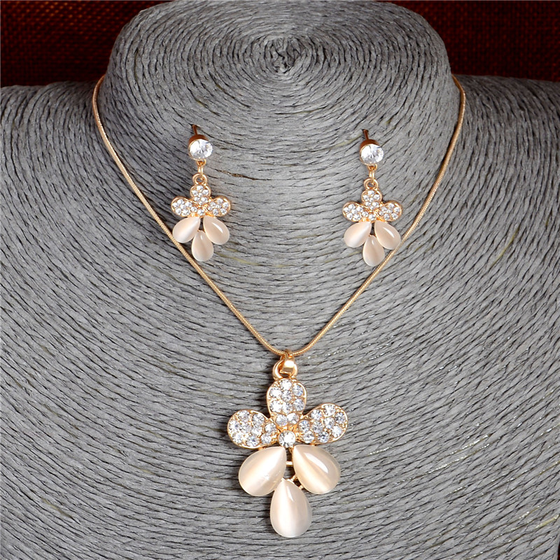 Beautiful Delicate Cat S Eye Stone Decoration Jewelry Set Fashion