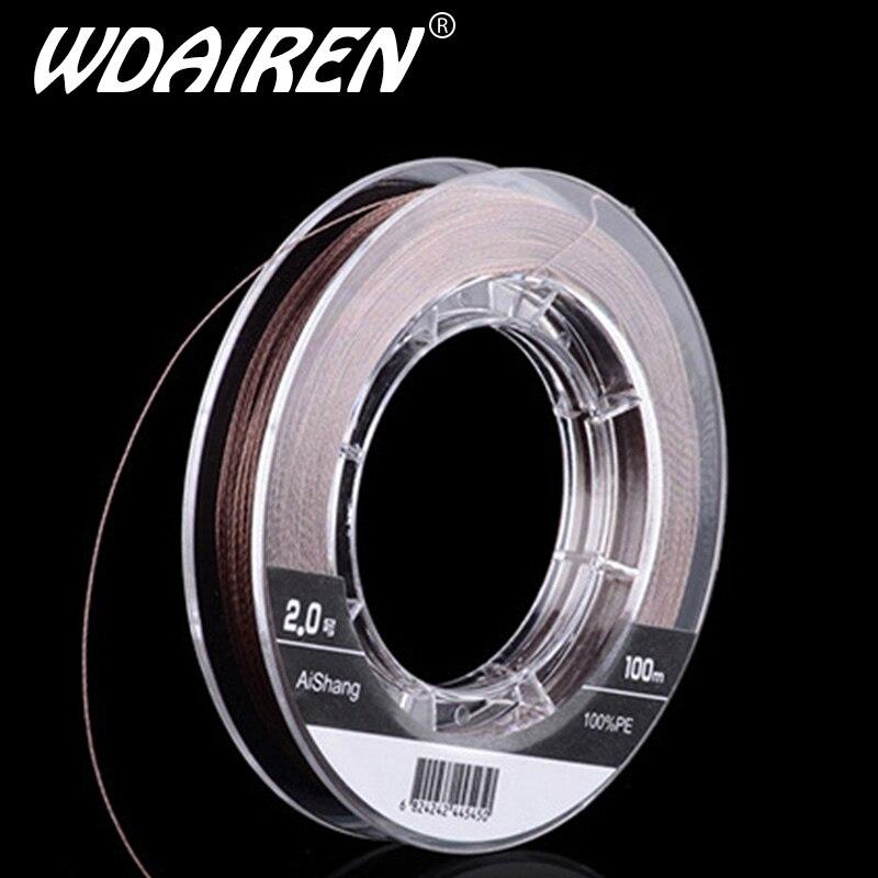 WDAIREN özlü tel çelik iç süper güçlü Multifilament olta 100m PE örgü misina olta 4 telli 10- 90lb