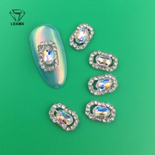 LEAMX 10pcs/pack New High Quality AB Rhinestone Alloy Nail Art Decorations Glitter Charm 3D Jewelry DIY Manicure Supplies