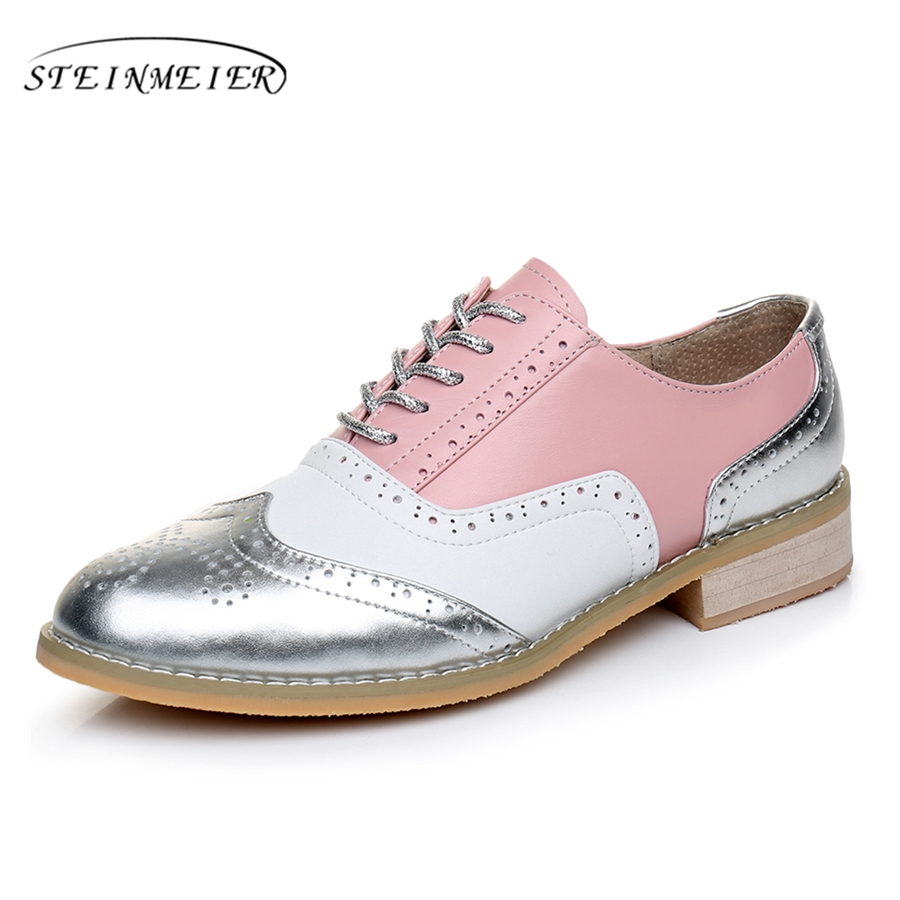 Genuine leather big woman US 10 designer vintage flats shoes round toe handmade silver white pink oxford shoes for women fur  2017 vintage style real leather women flats brife pointed toe slip on handmade genuine leather designer shoes woman