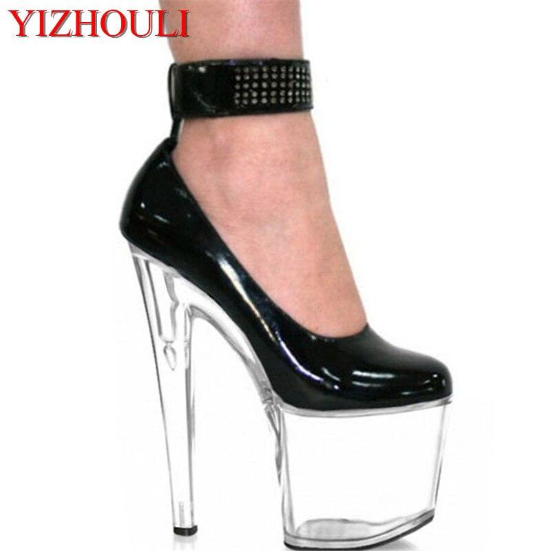 Piste Noir Gâteau Cm De Cristal Sexy 20 clair Documentaire Discothèque Chaussures Haute Mode vHqBP