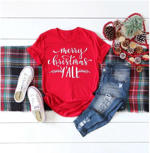 merry christmas yall shirt red women fashion slogan graphic vintage vegan t shirt grunge camisetas