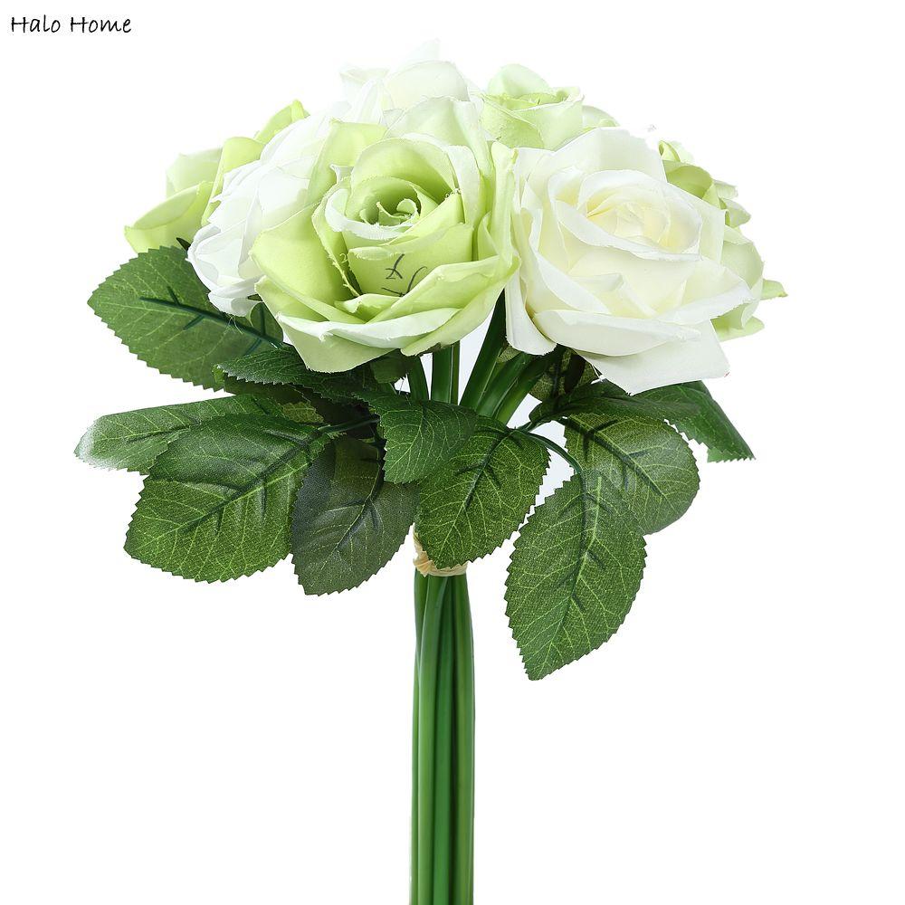 1 Bündel Seide Künstliche Blumen Grüne Rose Für Feiern Öffentlichen ...