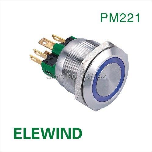 ELEWIND 22mm en acier Inoxydable Anneau illuminé bouton poussoir momentané interrupteur (PM221F-11E/B/12 V/S/IP65)