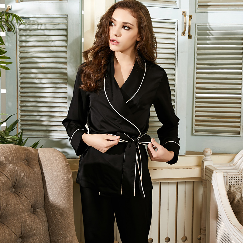 Black   Pajamas     Set   2018 Spring Summer Silk Women Sleepwear With Two Piece Satin Ladies   Pajama     Set   Long Sleeves Dressing Gown