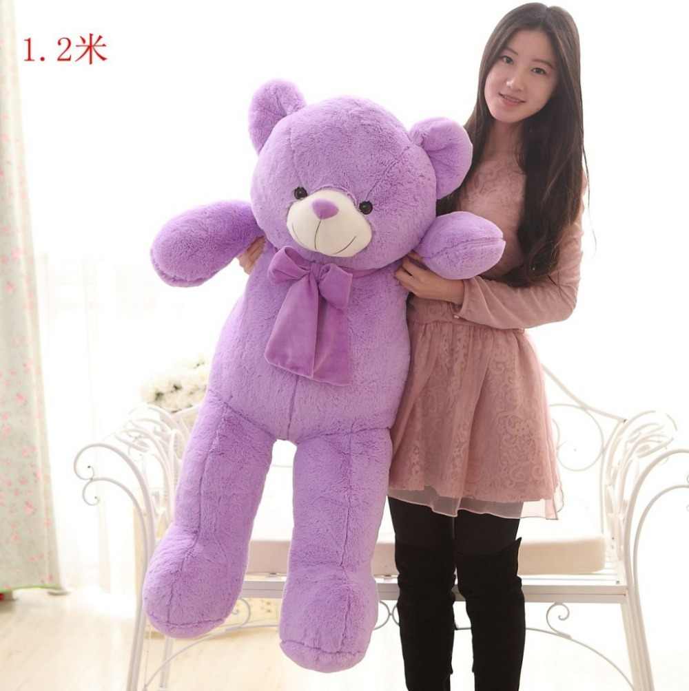 large 120cm bowtie purple teddy bear plush toy,,soft throw pillow, birthday gift t4770 lovely giant panda about 70cm plush toy t shirt dress panda doll soft throw pillow christmas birthday gift x023