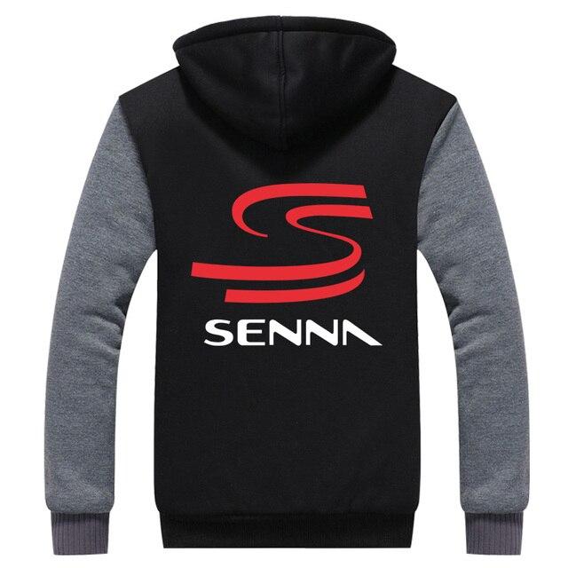 Hoodie dos homens Casaco de Inverno Engrosse Velo Ayrton Senna F1 Racer EUA UE Plus Size