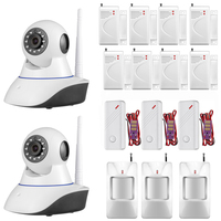 2pcs 720P IP Camera WiFi Home Burglar Fire Alarm System with PIR Motion Detectors Water Sensor Vandal proof Support IOS Android