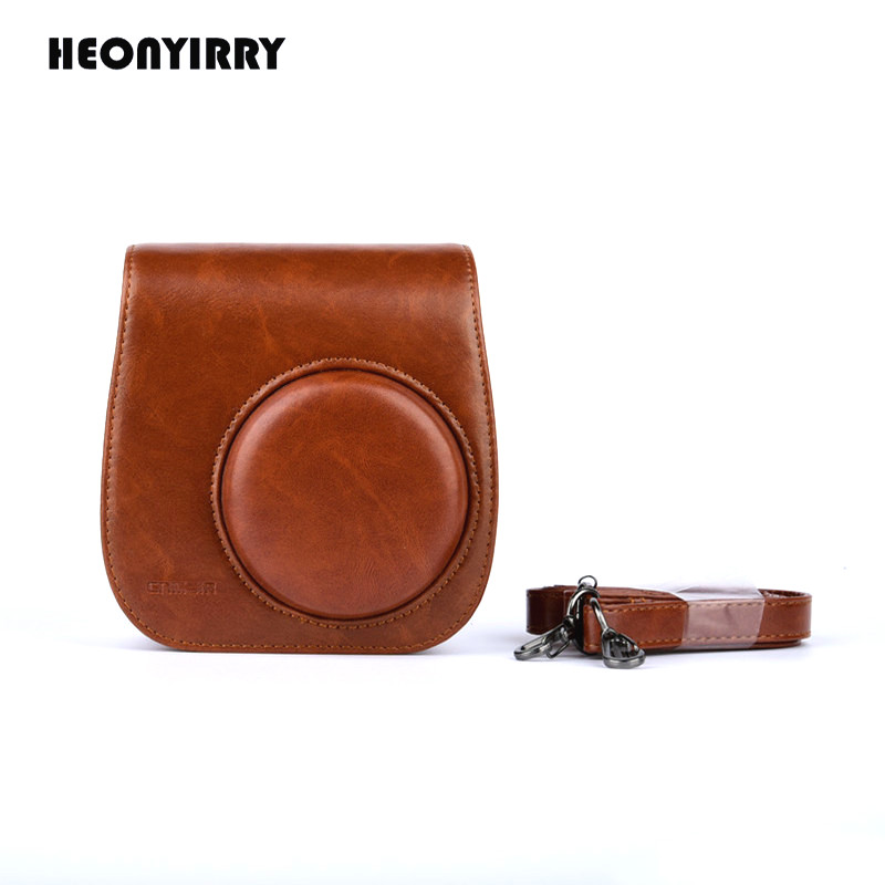 HEONYIRRY Leather Camera Bag Protect Case Pouch For Fujifilm Instax Mini 8 8+Mini 9 Cases Small PU Instant Camera Shoulder Bag цена 2017