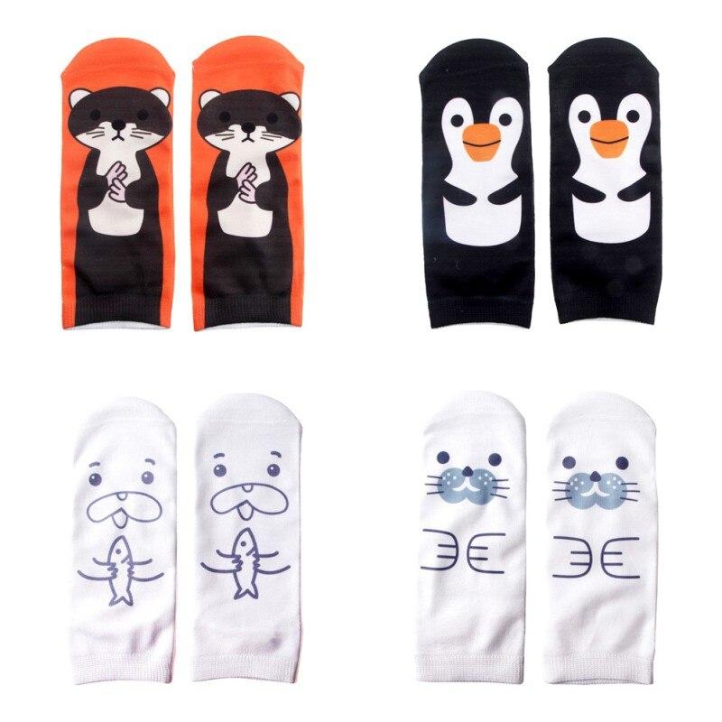 1 Paar 3d Black Penguin Gedrukt Sokken Nieuwe Unisex Lage Cut Sokjes Vrouwen Sok Vrouwen Casual Cutton Sokken Yrd Heilzaam Voor Het Sperma