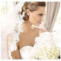 2016 Top Quality Mantilla Cathedral Wedding Veil with Comb White Ivory Lace Edge 3 Meters Long Bridal Veil