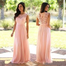 Vintage Lace Long Pink Bridesmaid Dresses 2017 Spring Jewel Neck A Line Chiffon Formal Wedding Guest Dresses Custom Party Gowns