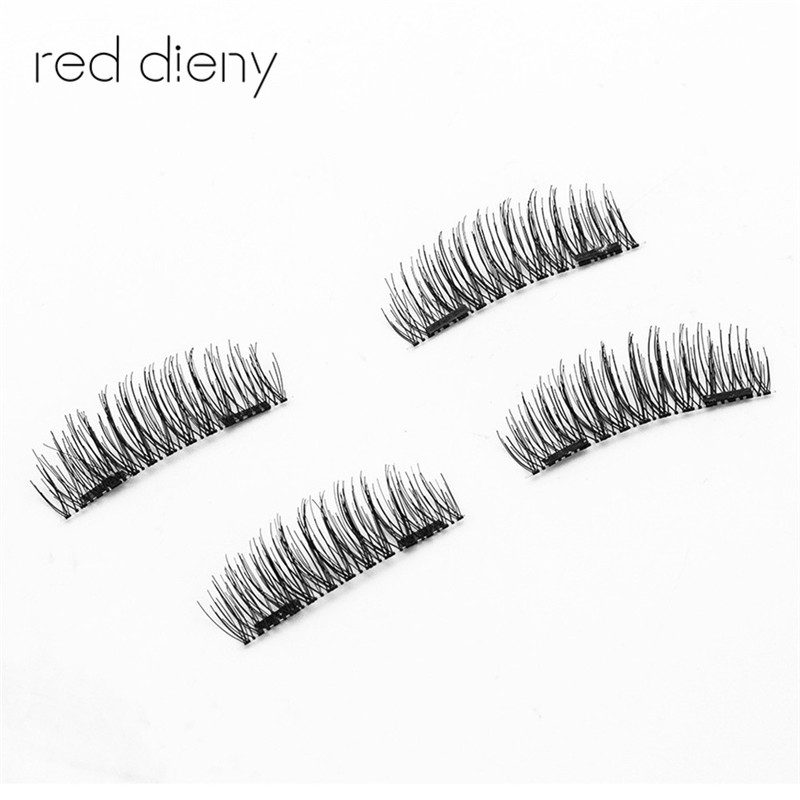 4Pcs/Pair Double Magnetic Eyelashes Maquiagem False Lashes Magnetic Eye Lashes False Eyelashes High Quality With Round Box