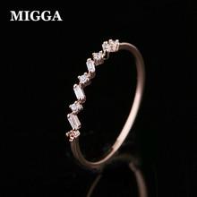 MIGGA нежный геометрический кубический циркон Кристалл Женское кольцо тонкий дизайн роза с покрытием золотого цвета ювелирные изделия