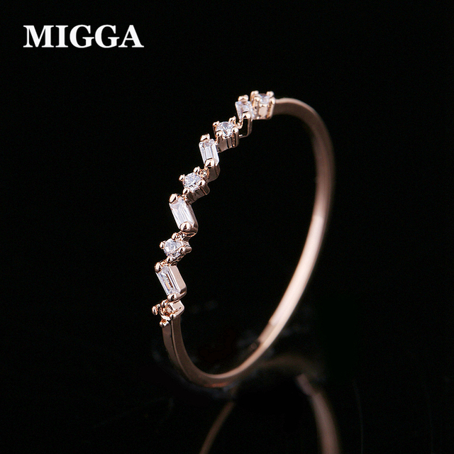 MIGGA Delicate Geometric Cubic Zircon Crystal Women Ring Thin Design Rose Gold Color Plating Bague Jewelry