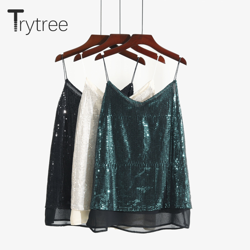 Trytree Sexy Tank Tops Women Top Sequined Silver Green Vest V-Neck Double Layers Tank Tops Solid Black Fashion Camis Fitness