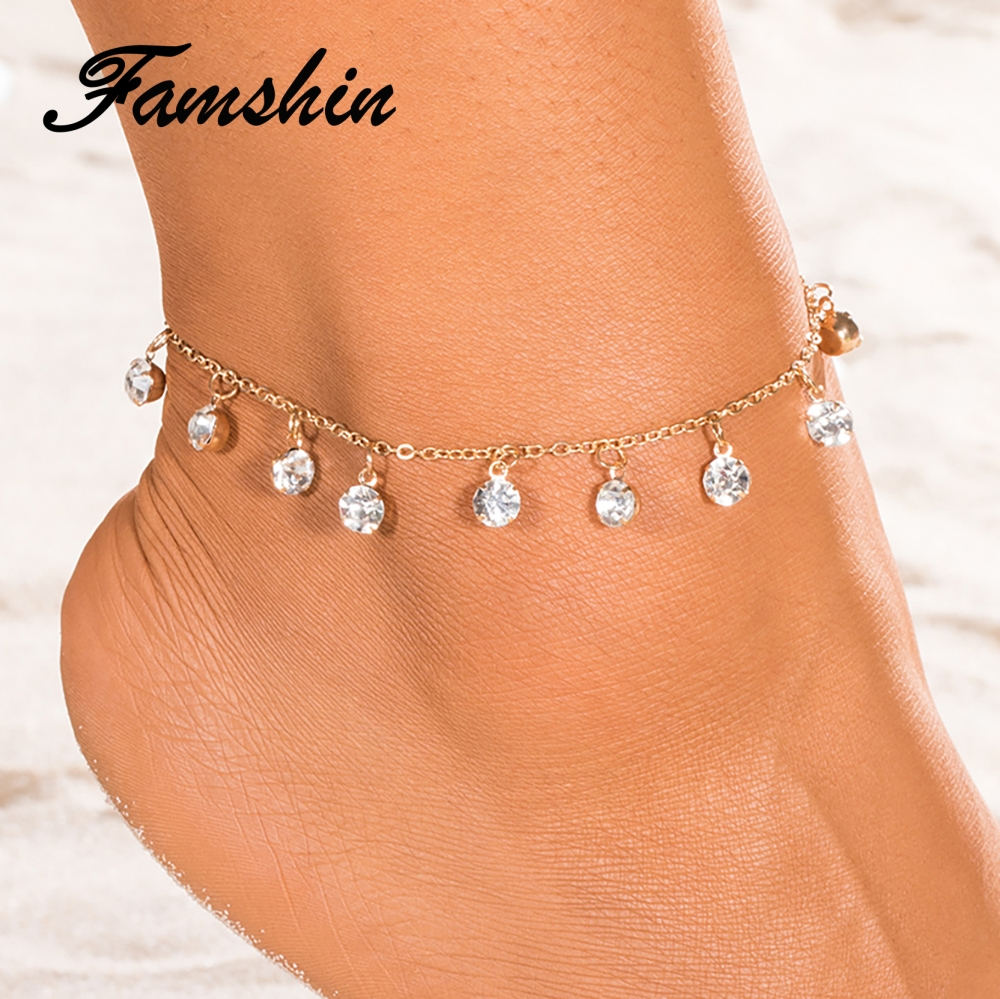FAMSHIN 2018 New Vintage Fashion Crystal Anklets Drop Gold Silver Color Anklet gift for Women girl Chain Bracelet Foot Jewelry