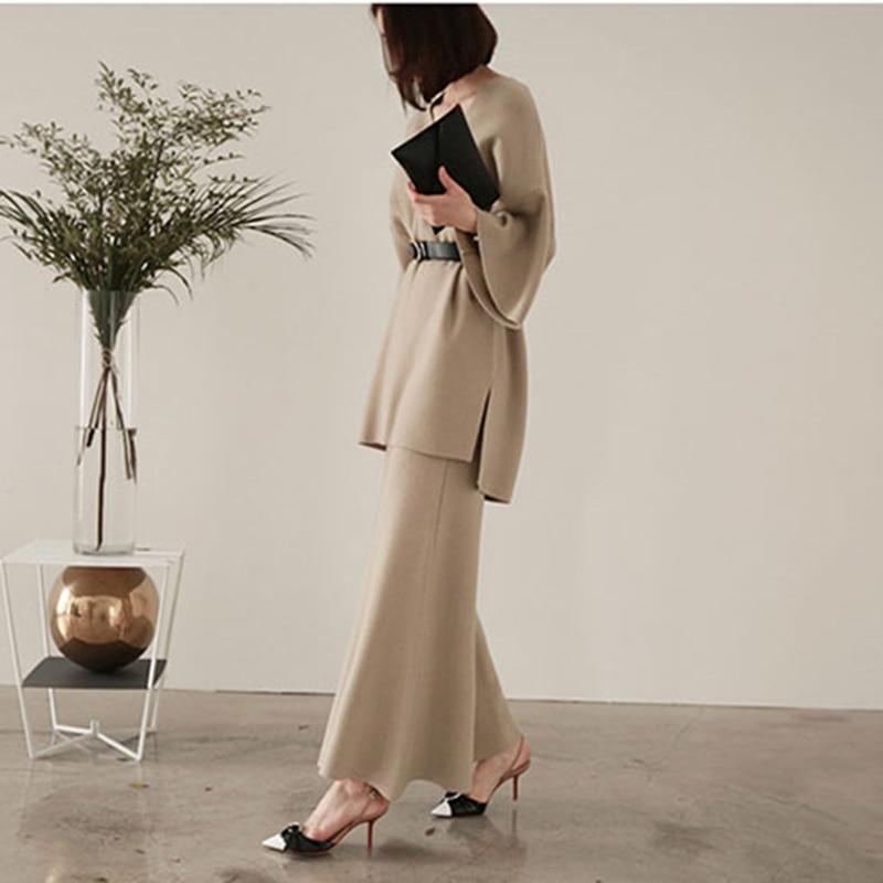 Femme Tailleur black Femmes Pantalon Yd Deux Haute S 39 amp; Jambe Pièces Tricoté Top Pull Large Tricot Ensemble Plus ever pantalon Khaki Taille Costume IaIqxFgw