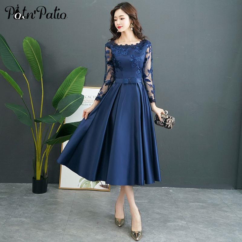 Navy Blue Long Sleeve Evening Dress A-line Tea-Length Satin Evening Gown Long Mother Of The Bride Dresses Plus Size