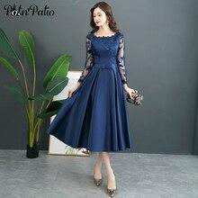 Robe de soirée en Satin bleu marine, manches longues, ligne a, longueur thé, robe de soirée en Satin, pour mère de la mariée, robes de grande taille