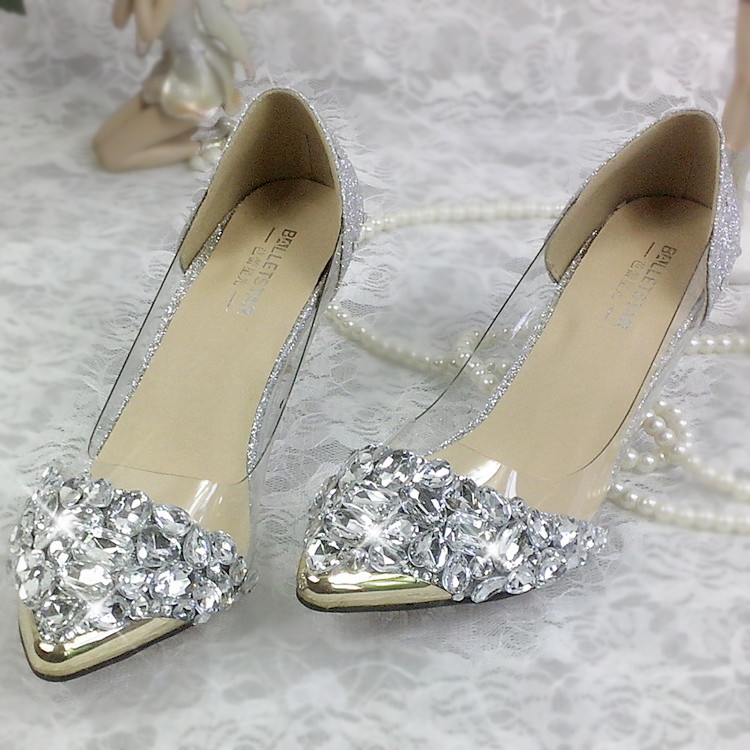 Silver Crystal Wedding Shoes Biling Sequin Pearl Beaded Rhinestone Pointed Toe Women Sandals For Party Banquet Bride Bridesmaid