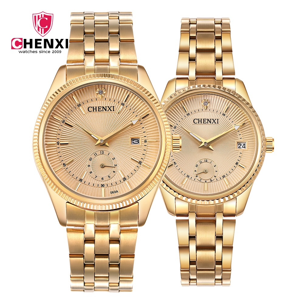 Luxury Women Men Couple Watches Top Brand CHENXI Waterproof Stainless Steel Lover's Wristwatch Calendar Quartz Casual Clock Gift odetina 2017 new women pointed metal toe loafers women ballerina flats black ladies slip on flats plus size spring casual shoes