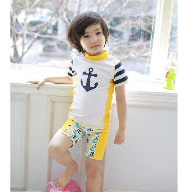 South Korean 2017 yellow anchor Baby boy swimsuit toddler two piece suit  short sleeves swim suit beach for children Cap swimwear d23e93e917b4