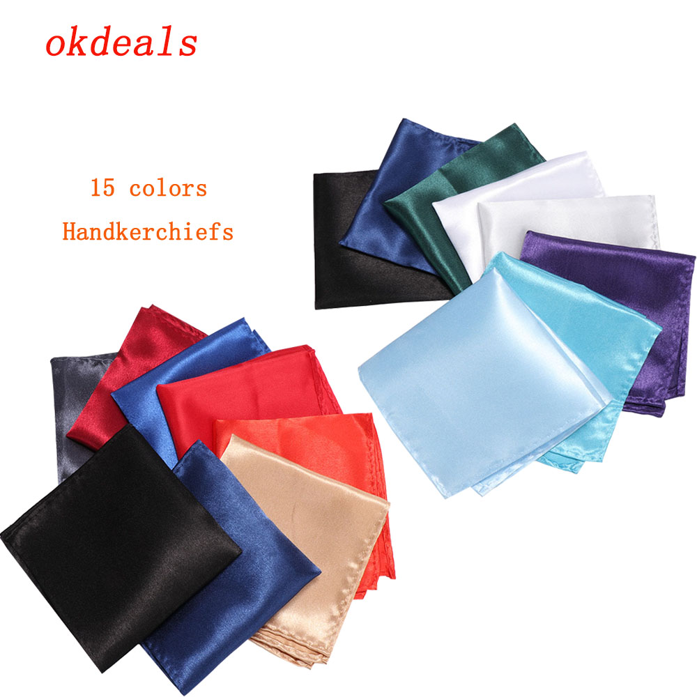 15 Colors Solid Color Vintage Party Men's Handkerchief Groomsmen Men Pocket Square Handkerchief For Wedding Business