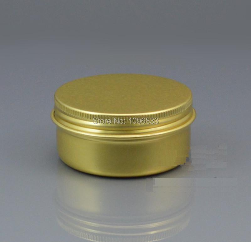 50g Gold Farbe Aluminiumsahneglas, 50 ml Aluminium Goldenen Gläser, leere Dose Behälter, kosmetische Verpackung Metall Box, 50 teile/los-in Nachfüllbare Flaschen aus Haar & Kosmetik bei  Gruppe 1