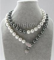 Free Shipping>>new hot 12mm white + peacock black round sea shell pearl necklace 925 silver