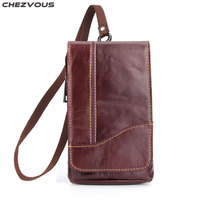 CHEZVOUS 6.3'' Leather Small Belt Bag Men Mobile Phone Bag Case for iPhone/Samsung/Huawei/Xiaomi/Nokia with Neck Strap Universal