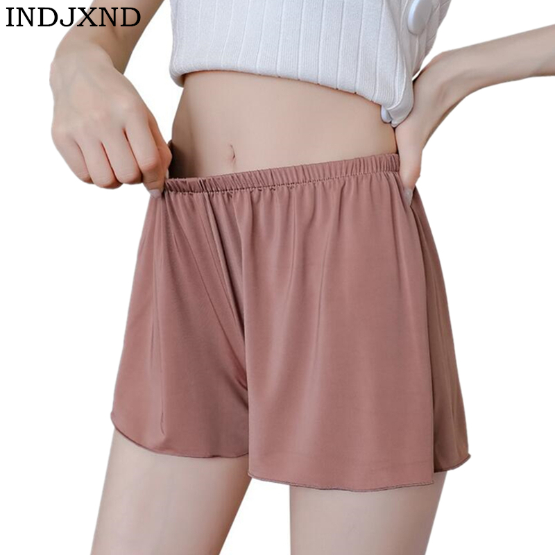 INDJXND Plus Size Loose Silk Security Short New Summer Silky Shorts Casual Anti-lighting Outer Wear Home High Waist Solid Colors