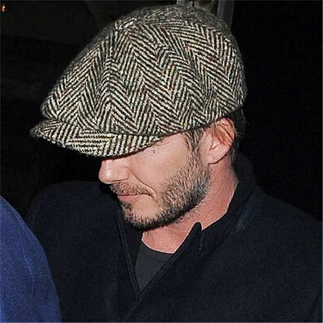 c7e8cc36994 Hot Fashion Herringbone Tweed Gatsby Newsboy Cap Men Wool Ivy Hat Golf  Driving Flat Cabbie Flat Unisex Berets Hat