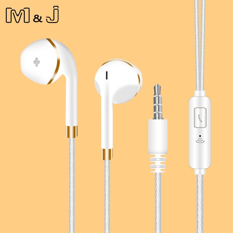 Наушники-вкладыши M & J для iPhone 6s 6 5 Xiaomi, гарнитура громкой связи, басовые наушники, стереонаушники для Apple Iphone Samsung, наушники