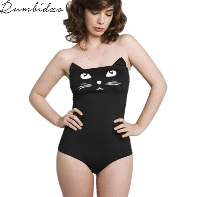 e9113f53012 Sexy Black Cartoon Cat Swimsuit Jumpsuits 2017 Fashion Summer Style Beach  Bodysuit Slim Elegant Rompers Womens