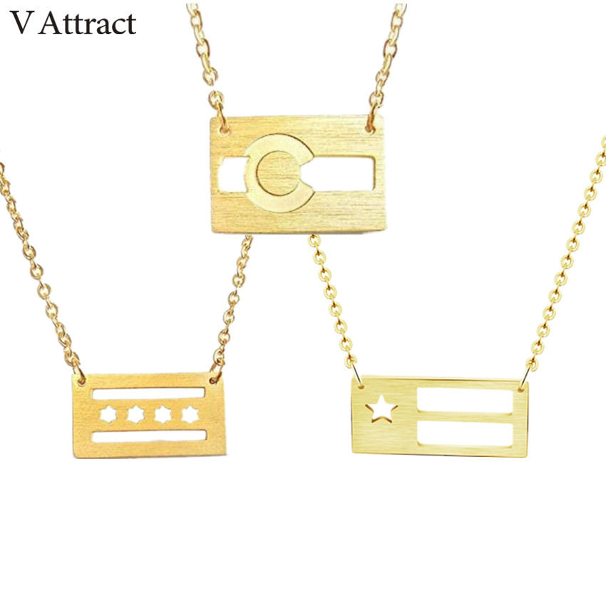 V Attract 10pcs Unique Flags Charm Pendant Necklaces 2018 Fashion <font><b>Ketting</b></font> Chain Jewelry Simple Star Bijoux Femme <font><b>BFF</b></font> Gift image