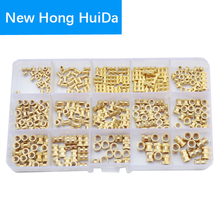 Brass Knurled Nut Female Thread Insert Embedment Cylinder Injection Molding Copper Nutsert Assortment Kit Set 330pcs M2 M3 M4 M5