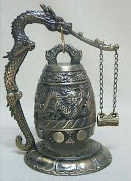 Abile 2 Pz Tibetano Argento Da Collezione Brass Drago Cinese Statua Di Bell Artigianato Strumenti Di Decorazione Di Cerimonia Nuziale In Ottone Rame Libero Di Trasporto