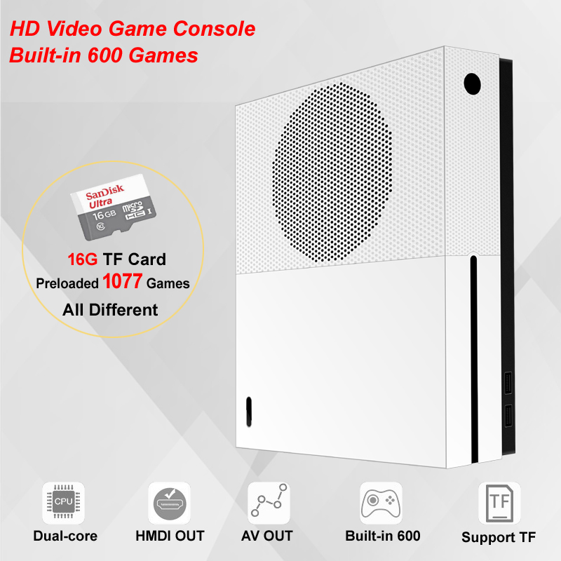 HDMI&AV Out Built-in 600 Classic Games Video Game Console For CP1/CP2/ GBA/NEOGEO/SNES/NES Format 16GB TF Card with 1077 Games nintendo gba video game cartridge console card metroid zero mission eng fra deu esp ita language version