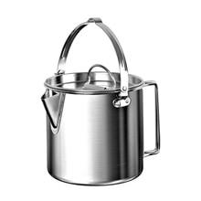 Открытый походный чайник из нержавеющей стали, чайник для приготовления пищи, 1.2л, легкий компактный походный горшок для походов, альпинизма, пикника