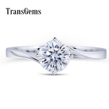 TransGems 1 ct Carat Lab Grown Moissanite Diamond Solitaire Engagement Wedding Rings Solid 14K White Gold for Women