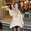 Moda tamanho grande Das Mulheres Casacos de Inverno E Casacos 2016 nova casaco Feminino Para Baixo Parka Mulheres Coreano Vestido Cachecol Longos e Grossos jaqueta