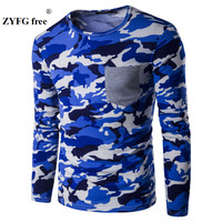 T Shirt Men Leisure Extended Camouflage Hip Hop Long Sleeves T Shirts Urban Kpop Tee