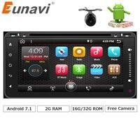 Eunavi 2 din Toyota için Android 7.1 araba dvd oynatıcı radyo gps Hilux VIOS Eski Camry Prado RAV4 Prado 2003 2004 2005 2006 Quad çekirdek