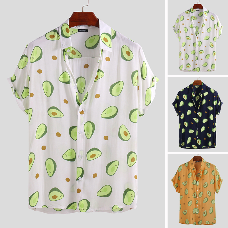 INCERUN 2020 Summer Mens Shirt Avocado Printed Lapel Neck Short Sleeve Casual Tops Beach Hawaiian Shirts Men Streetwear Camisa