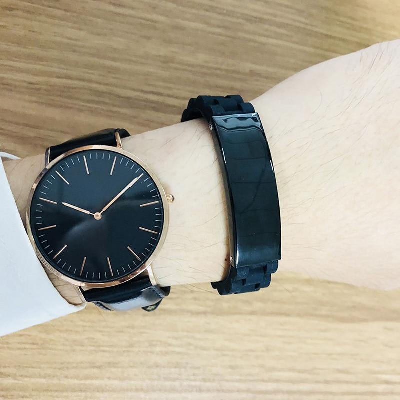 Image 2 - Мужской браслет с гравировкой, черный силиконовый браслет на  нескольких языках, на немецком, французском, ивритеID браслеты   -