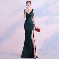 Green Crystal Beading V Neck Sleeveless Open Slit Straight Elegant Party Dress Women Formal Dresses Evening Wear Sexy Clubwear
