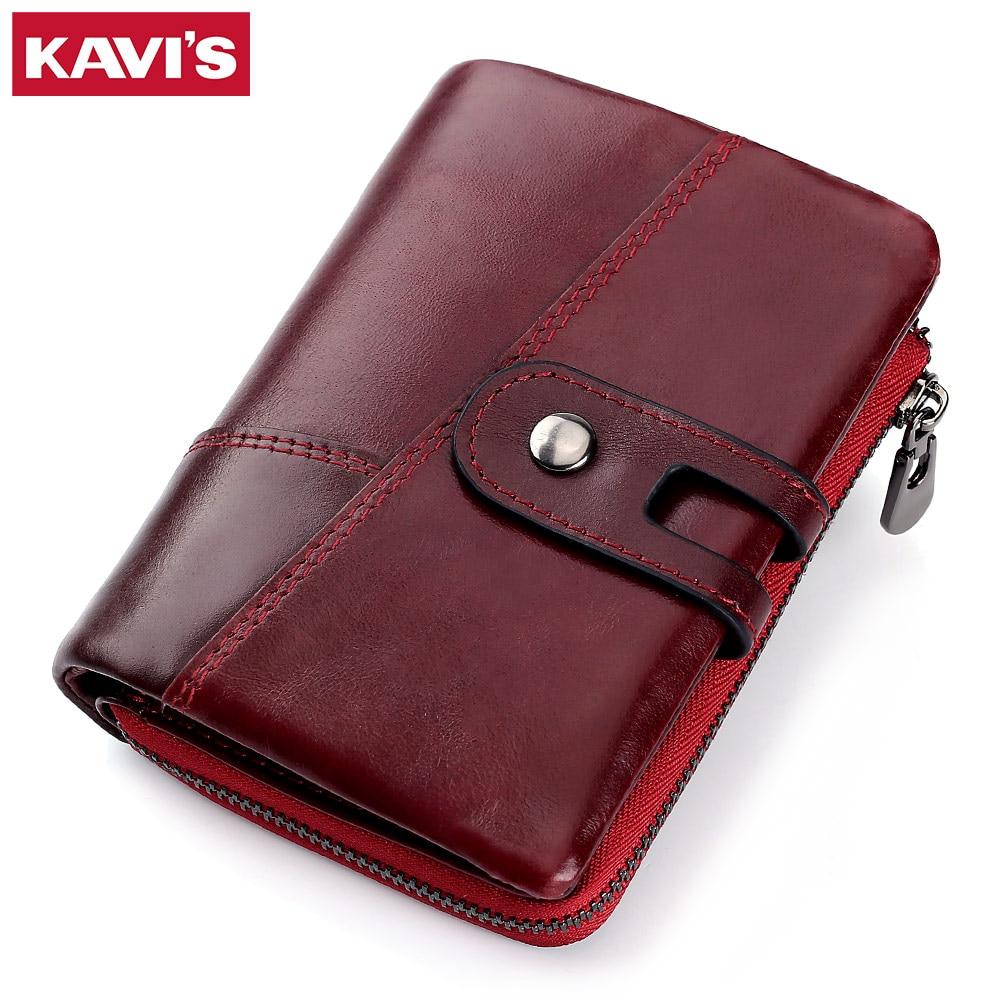 KAVIS 100% Genuine Leather Women Wallet Female Small Walet Portomonee Lady Mini Card Holder Female Coin Purse Red Hasp top sale