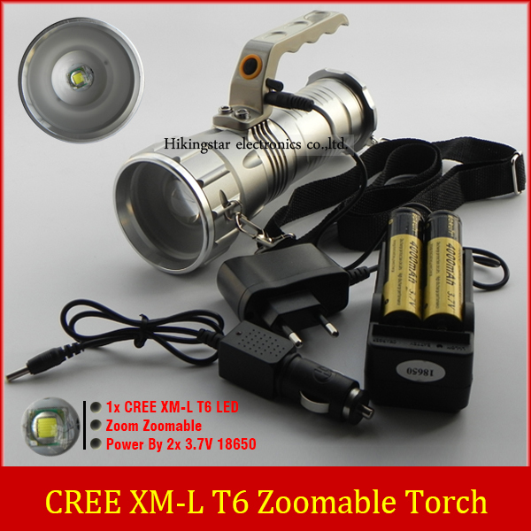 2015 New Flashlight adjustable Zoomable CREE XM-L T6 LED Flashlight Torch Zoom Lamp Light With 2x 18650 Battery + AC/Car Charger 8200 lumens flashlight 5 mode cree xm l t6 led flashlight zoomable focus torch by 1 18650 battery or 3 aaa battery